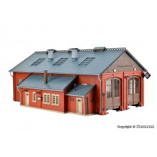 H0 Loco shed with door lock mechanism, double track, functional kit