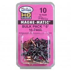 "#10 HO Scale Bulk Pack - 10 pair #5 (NO.5®) Metal Couplers - Medium (9/32"") Centerset Shank"