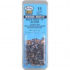 "#11 HO Scale Bulk Pack - 20 pair #5 (NO.5®) Metal Couplers - Medium (9/32"") Centerset Shank"
