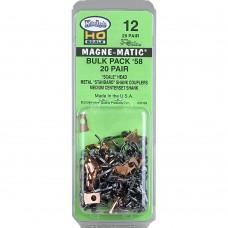 "#12 HO Scale Bulk Pack - 20 pair #58 Scale Metal Couplers - Medium (9/32"") Centerset Shank"