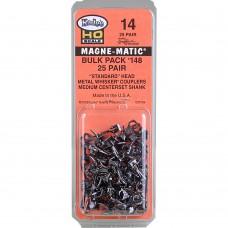 """#14 HO Scale Bulk Pack - 25 pair #148 Whisker® Metal Couplers - Medium (9/32"""") Centerset Shank"""